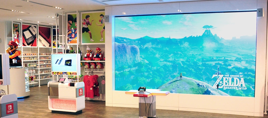 15-foot video wall inside store.